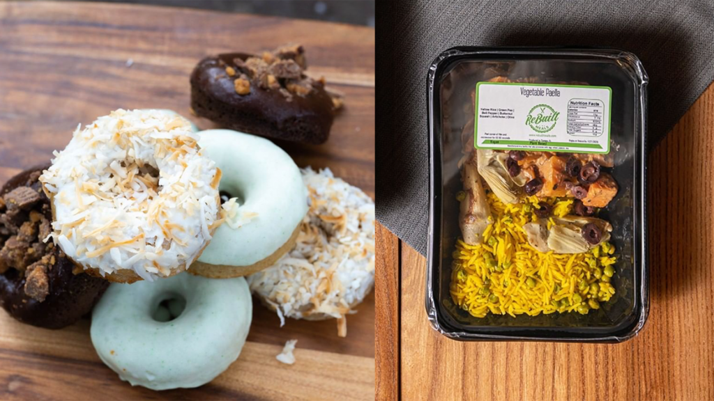 Donuts on a wooden board next to a prepackaged meal