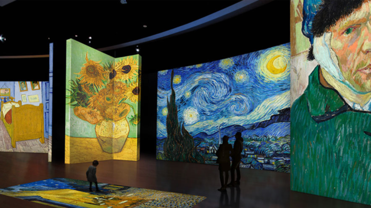 A massive art installation featuring projections of Van Gogh Paintings