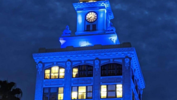 City Hall lit in blue