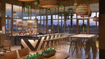 Rendering inside a rooftop bar with wrap around seating
