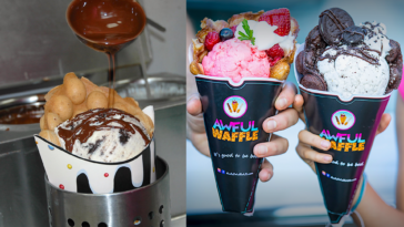 Photo of hot fudge being poured over ice cream in bubble waffle cones