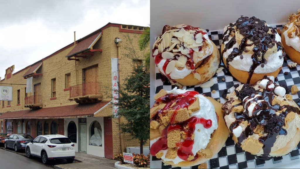 Exterior of a yellow building set next to a photo of cinnamon rolls