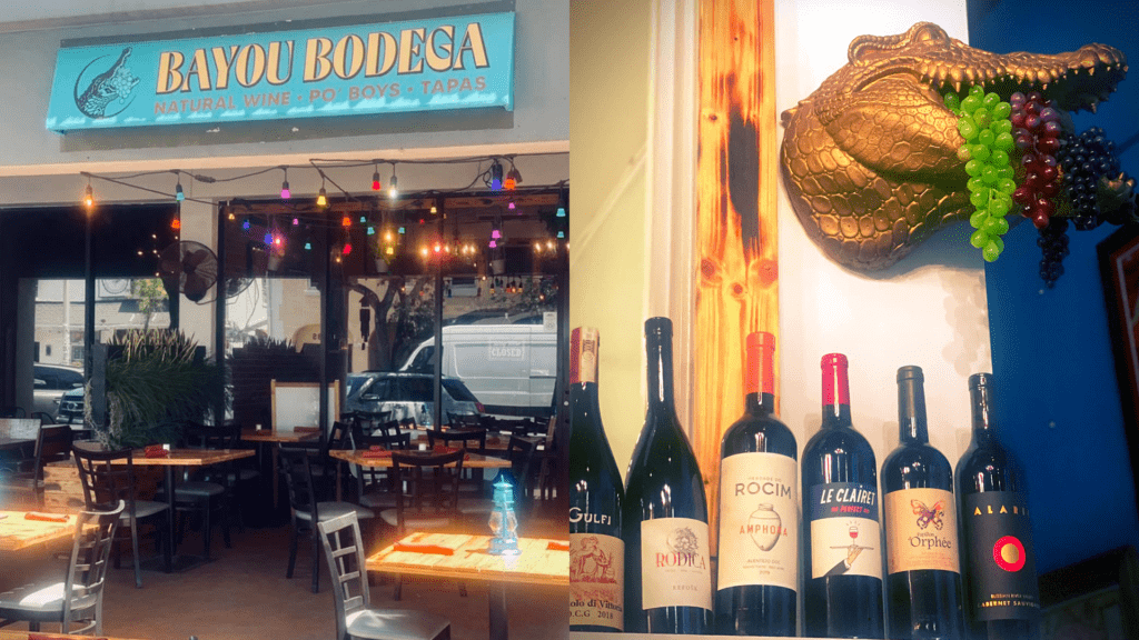 exterior of a small bodega next to an interior photo with a golden alligator bust filled with grapes
