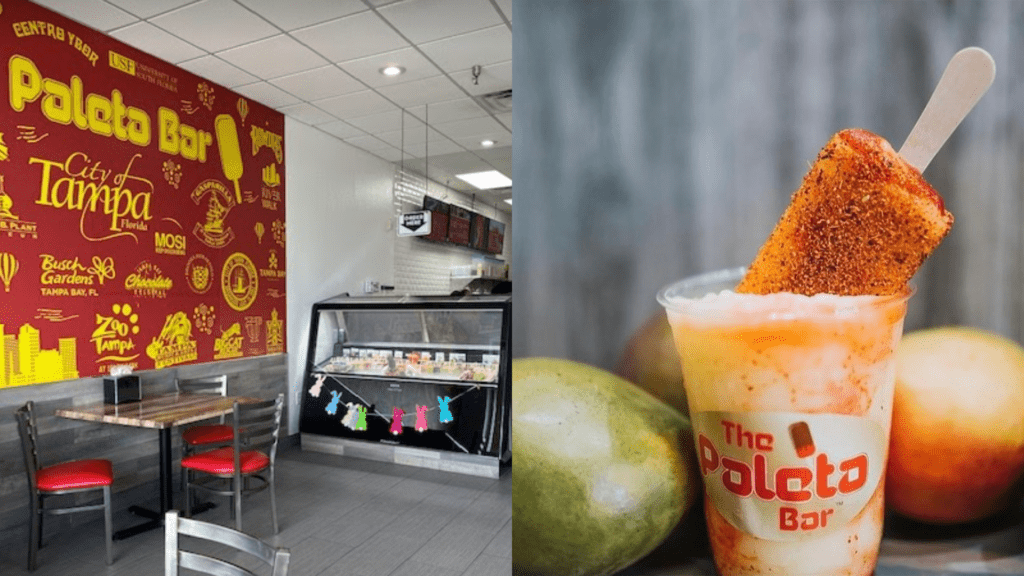 inside an ice pop shop with a red and yellow mural wall
