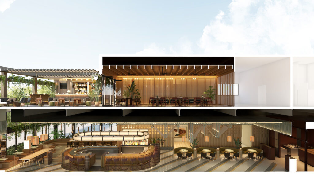 rendering of a two-floor restaurant with private terrace