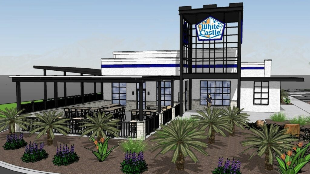 giant white castle with two drive thru lanes