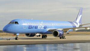 exterior of a blue airplane