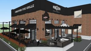 Rendering of a brick restaurant