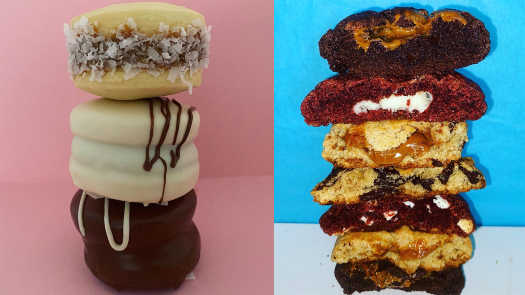 stacks of cookies filled with chocolate