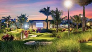 rendering of a high tech mini golf course with bunkers and palm trees