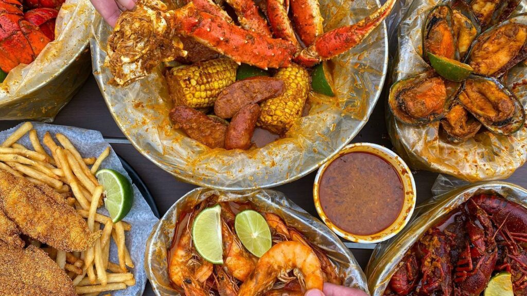 aerial shot of seafood dishes