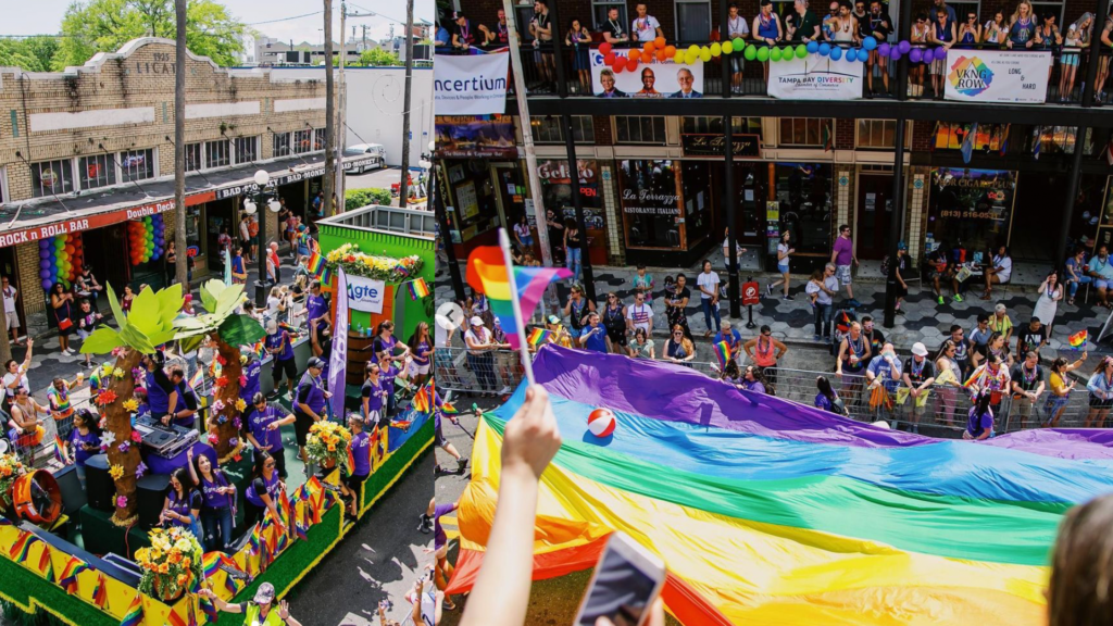large rainbow flag being unfurled during a parade