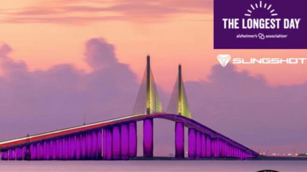 tall bridge over the water lit up with purple lights
