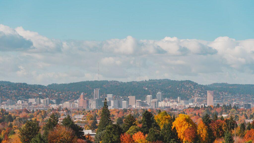 Portland skyline with foliage and mountains