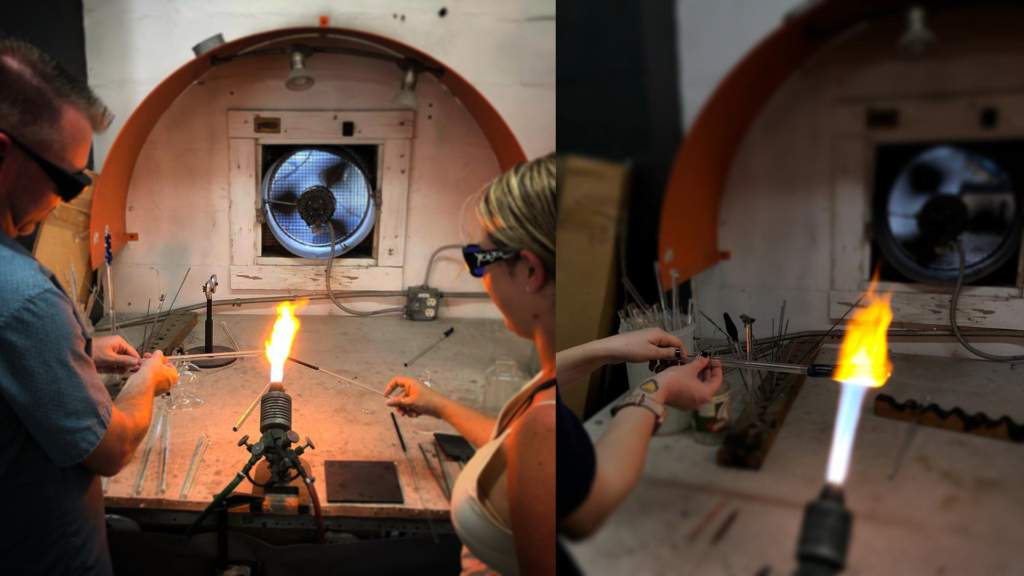 two different glassblowing stations