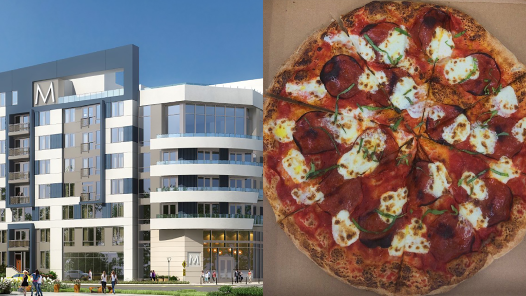 rendering of a new mixed-use building with pizza
