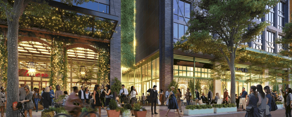 rendering of a sprawling downtown scene with ivy covered awnings
